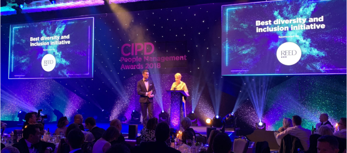 Chris Adcock presenting at CIPD People Management Awards